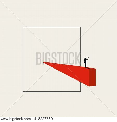 Thinking Outside The Box Vector Concept. Symbol Of Business Vision, Original Idea, Innovation And In