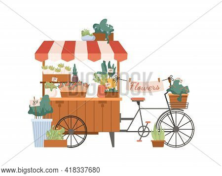 Mobile Flower Shop, Delivery Bouquets By Bicycle Isolated Flat Cartoon Marketplace. Floristry Kiosk,
