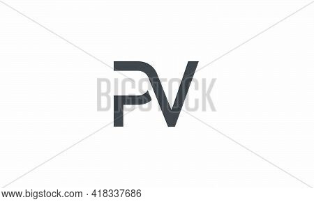 Pv Letter Logo Concept Isolated On White Background.
