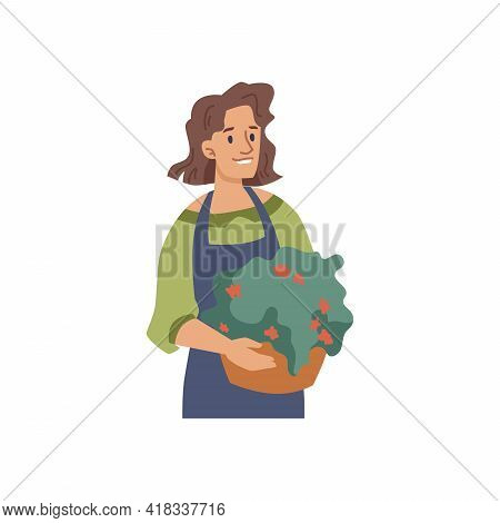 Woman Florist Or Flower Seller With Potted Plant Isolated Flat Cartoon Character. Vector Gardener Or