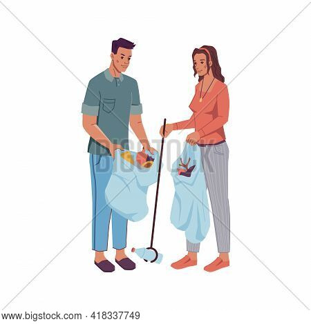 Happy Couple Volunteers Gather Litter Into Bags Isolated Flat Cartoon Characters. Vector People Acti