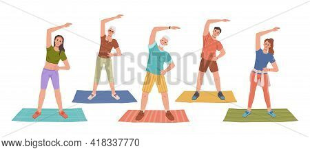 Fitness Yoga Classes On Mats, Healthy Man And Woman Stretching Hands Standing On Rugs. Vector People
