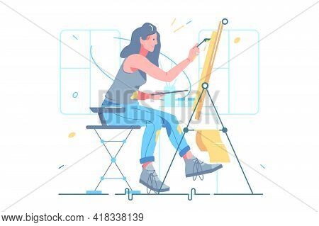 Female Artist Painting On Easel Vector Illustration. Girl Using Paints For Creating Masterpiece On P