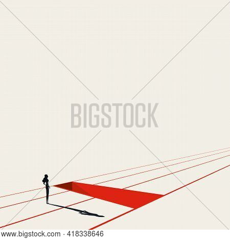 Business Woman With Obstacles In Her Career, Vector Concept. Symbol Of Discrimination, Overcome Chal