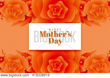 Happy Mother's Day Flower Decorative Greeting Design Vector Illustration