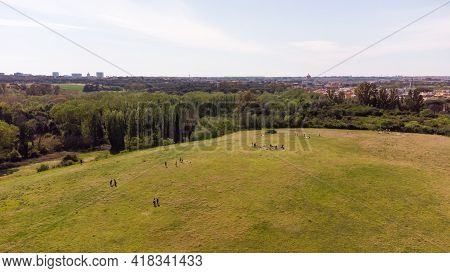 Aerial View Of A Public Park In Rome, Italy, During The National Holiday Of April 25Th.