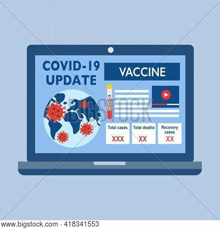Covid-19 Coronavirus Update On Laptop Computer Screen In Flat Design. Covid-19 Global Information Ne