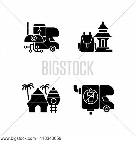 Vacation Black Glyph Icons Set On White Space. Rv Electronics. Trailer Devices. Spiritual Nomad. Res