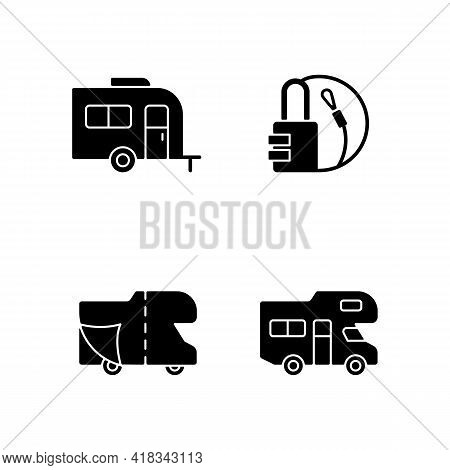 Trailer For Van Lifestyle Black Glyph Icons Set On White Space. Cover Sheet For Rv. Campground For V
