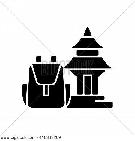 Spiritual Nomad Black Glyph Icon. Trip To Shrine For Spirituality. Nomadic Lifestyle. Camping Trip F
