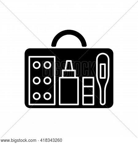 Small First Aid Kit Black Glyph Icon. Health Care Emergency Bag. Roadtrip Gear. Nomadic Lifestyle Eq