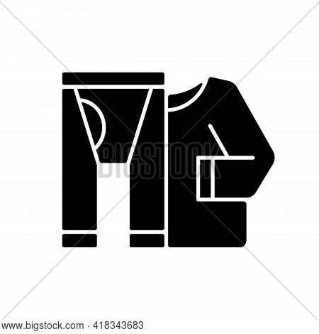 Thermal Underwear Black Glyph Icon. Sportswear And Thermo Clothing. Leggins And Shirt For Tourist. R