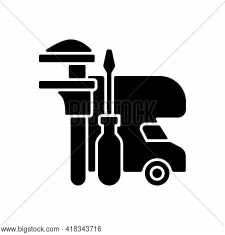Rv Maintenance Black Glyph Icon. Professional Service For Trailer Repair. Fix Auto For Travel. Roadt