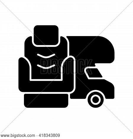 Rv Furniture Black Glyph Icon. Seating For Trailer. Recliner Chair For Van. Roadtrip Gear. Nomadic L