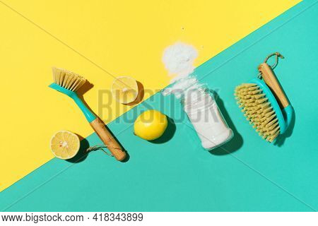 Flat Lay Composition With Eco-friendly Natural Cleaners. Baking Soda, Salt, Lemon, Mustard Powder An