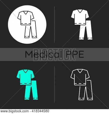 Scrub Suit Dark Theme Icons Set. Suit To Work In Clinic. Protective Wear For Hospital Professional.
