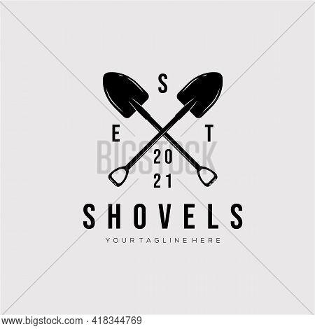 Mining Shovel Vintage Logo Template Vector Illustration Design. Simple Shovel, Mining Tool, Coal, Gr
