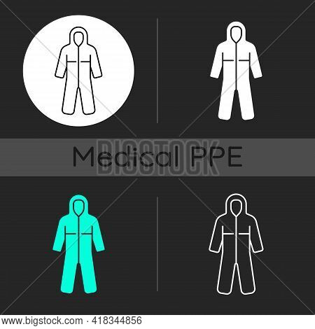 Medical Coveralls Dark Theme Icons Set. Protective Wear From Dangerous Contamination. Suit For Labor