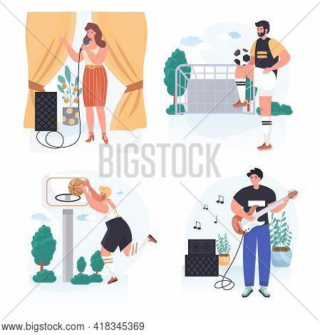 People Do Their Favorite Hobby Concept Scenes Set. Woman Singing In Karaoke. Men Play Guitar, Basket