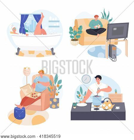 People Spend Weekend At Home Concept Scenes Set. Man Playing Game, Eating Pizza, Cooking At Kitchen,