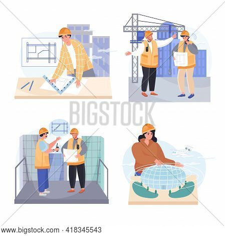 Architects Profession Concept Scenes Set. Architect Draws Blueprints, Engineer At Construction Site,