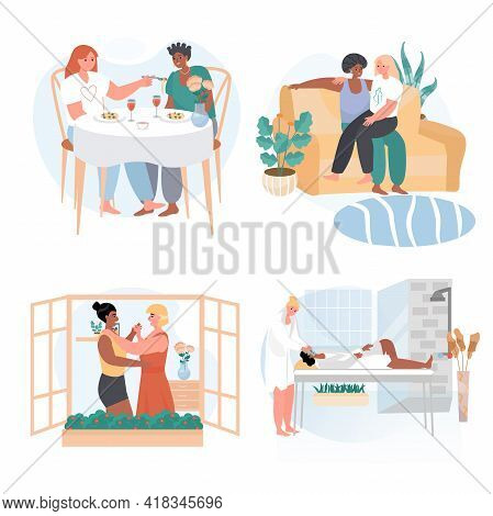 Diverse Homosexual Multiracial Lesbian Couples Concept Scenes Set. Women Have Lunch, Dating, Dancing