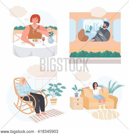Dreaming People Concept Scenes Set. Man Thinks In Transport. Woman Dreams At Dining, Sitting At Rock