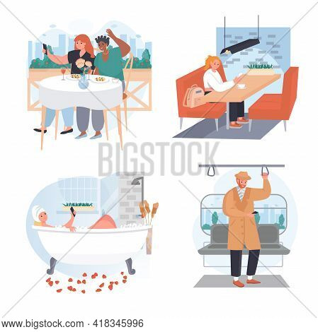 People Use Smartphones In Different Locations Concept Scenes Set. Men And Women With Phones In Cafe,