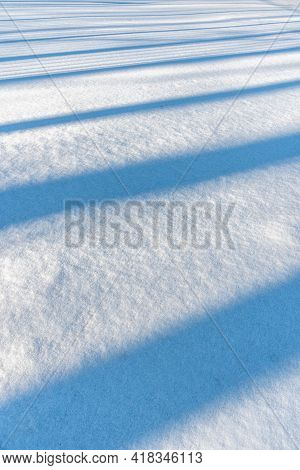 Shadow On The Snow From The Trees. Snowdrift In Sunny Weather. Trees Leave A Shadow On The Snow. Par