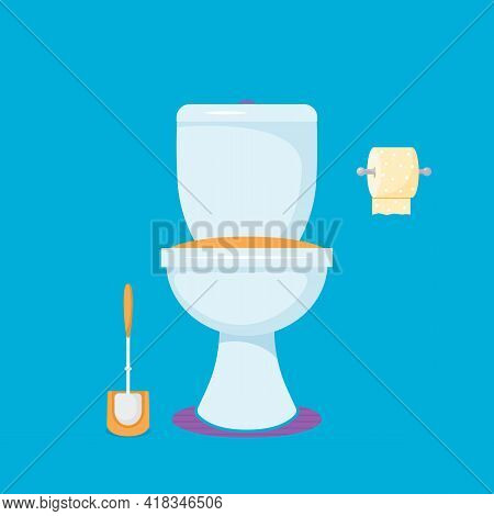 Toilet Bowl With Toilet Paper And Toilet Brushes. Flat Vector Illustration Isolated