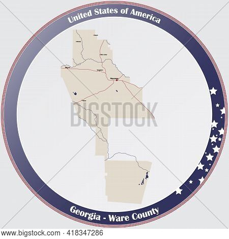 Large And Detailed Map Of Ware County In Georgia, Usa.