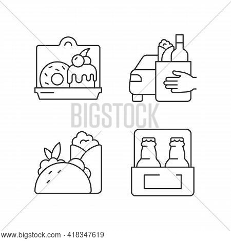 Pickup And Delivery Option Linear Icons Set. Cakes And Desserts. Food Curbside Pickup. Burritos, Tac