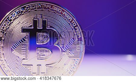 Bitcoin And Stock Market Graph Bar. Cryptocurrency. Bitcoin Stock Growth.