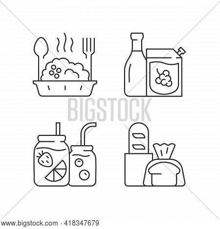 Takeaway And Delivery Option Linear Icons Set. Porridge Bowl. Red And White Wine. Fresh Bread. Custo