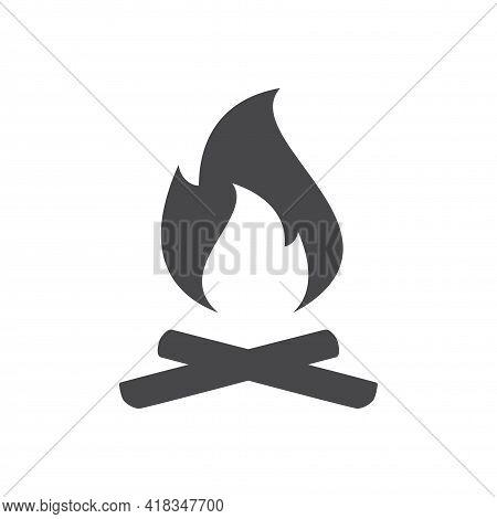 Bonfire And Firewood Black Vector Icon. Campfire Symbol.