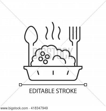 Takeaway Porridge Bowl Linear Icon. Balanced, Filling Breakfast. Takeout Oat Cuisine. Thin Line Cust