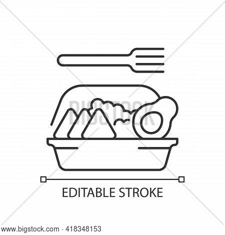 Family-style Meals Takeout Linear Icon. Dinner For Parents And Kids. Family-sized Portions. Thin Lin