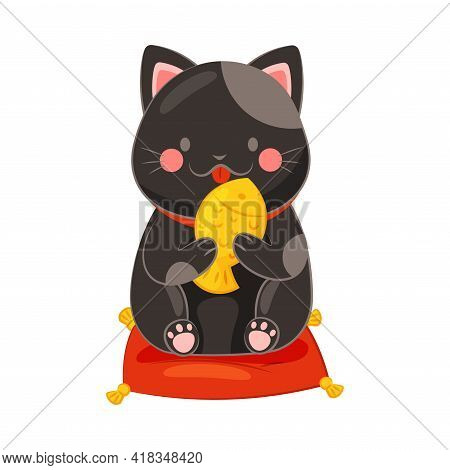 Seated On Pillow Maneki-neko Cat Licking Gold Fish As Ceramic Japanese Figurine Bringing Good Luck V