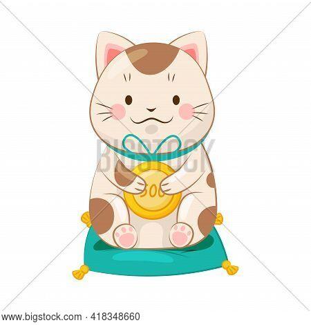 White Maneki-neko Cat Holding Gold Coin As Ceramic Japanese Figurine Bringing Good Luck Vector Illus