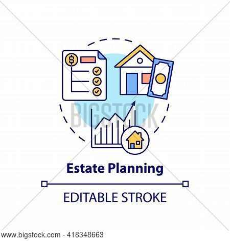 Estate Planning Concept Icon. Wealth Advisory Idea Thin Line Illustration. Asset Base Management. Pe