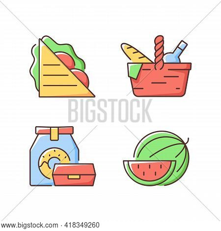 Outdoor Meal Rgb Color Icons Set. Ham And Cheese Sandwich. Picnic Basket. Takeaway Food. Watermelon.
