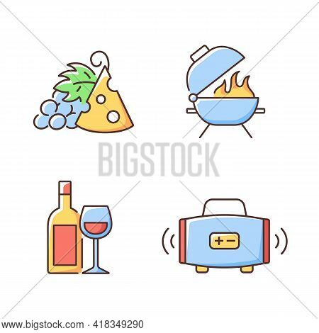 Outdoor Dining Rgb Color Icons Set. Pairing Fruit And Cheese. Bbq Grill. Alcoholic Drink. Streaming