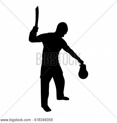 Silhouette Man With Sword Machete Cold Weapons In Hand Military Man Soldier Serviceman In Positions