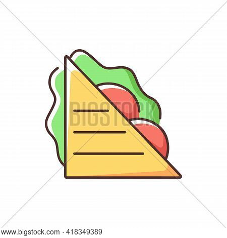 Sandwiches Rgb Color Icon. Ham And Cheese Sandwich. Meat Slices And Salads Between Bread Pieces. Bre