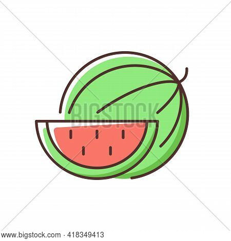 Watermelon Rgb Color Icon. Serving Fruit For Picnic. Low-calorie Treat. Body Detoxification. Fightin
