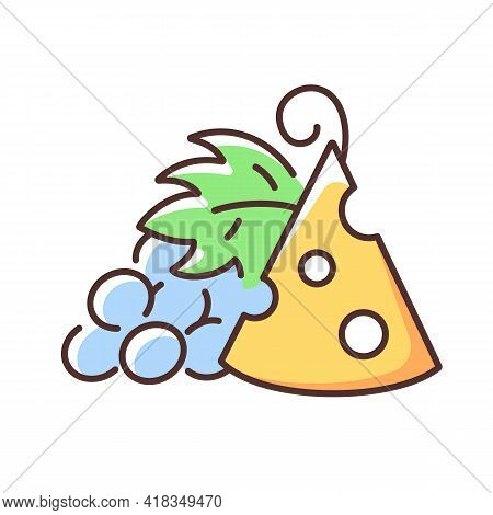 Cheese And Grapes Rgb Color Icon. Pairing Fruit And Cheese. Sweetness And Saltiness Combination. Com