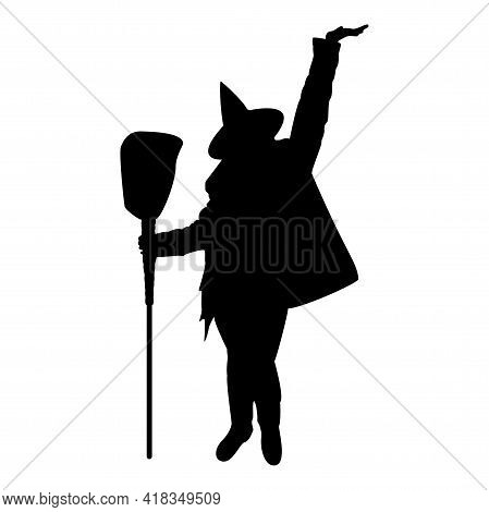 Silhouette Fairy Wizard Witch Holding Broom Subject For Halloween Concept Black Color Vector Illustr