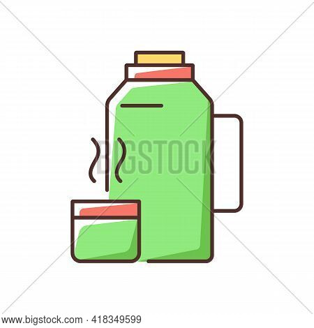 Vacuum Flask Rgb Color Icon. Keeping Coffee And Tea Hot. Thermos Flask. Leak-proof Mug. Heat Leaving