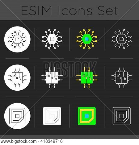 Microcircuits Dark Theme Icons Set. Computer Device Ports. Stable Connection Between Computer Compon