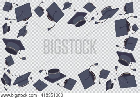 Border Or Frame With Flying Graduate Cap Vector Cartoon Illustration Isolated On A Transparent Backg